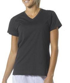 NW3232 A4 Ladies' Fusion Short-Sleeve V-Neck Tee Black