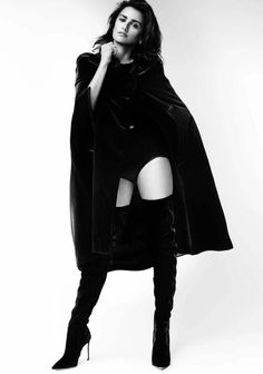 Penelope Cruz wearing cloaks and boots for Vogue Magazine Spain December 2016 issue