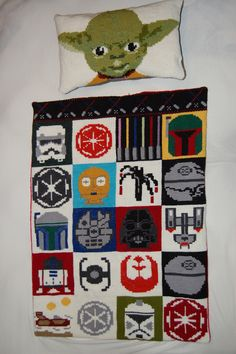 Cross-Stitched Star Wars Pillow and Blanket Set - http://www.gearfuse.com/cross-stitched-star-wars-pillow-and-blanket-set/