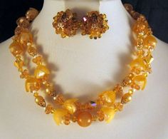 Two Strand Necklace Earrings Amber by GrapenutGlitzJewelry on Etsy