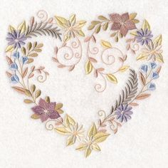 Delicate Blooms Heart design (M16155) from www.Emblibrary.com
