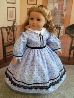 Cecile, Marie-Grace Historical 1850s Dress / Clothes for American Girl Dolls