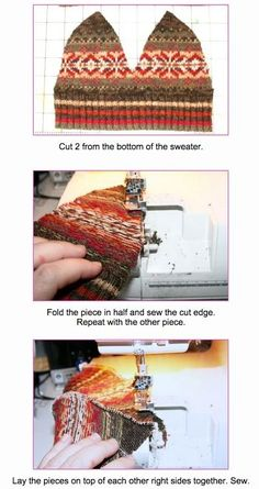 The best DIY projects & DIY ideas and tutorials: sewing, paper craft, DIY. Beauty Tip / DIY Face Masks 2017 / 2018 Sew hats from old sweaters :) -Read Sewing Hacks, Sewing Tutorials, Sewing Crafts, Sewing Projects, Sewing Patterns, Sewing Clothes, Diy Clothes, Alter Pullover, Sweater Mittens