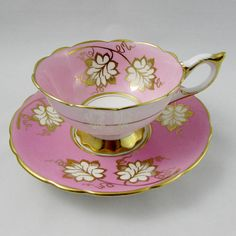 Royal Stafford Tea Cup and Saucer, Pink with Gold Leaves, Vintage Bone China Pink Coffee Cups, Tea Cups, Royal Stafford, Vintage China, Vintage Teacups, Teapots And Cups, Tea Service, Teller, Tea Cup Saucer