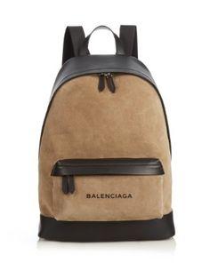 Bi-colour suede and leather backpack | Balenciaga | MATCHESFASHION.COM US