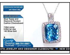 Pendant with topaz and diamonds.