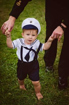 Infant Baby Boy Sailor Outfit Shorts attached suspenders w/