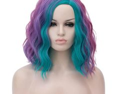Peruca Sintetica Scurta Ondulata Colorata pentru Petrecere Short Curly Wigs, Kinky Curly Wigs, Short Wavy, Lace Front Wigs, Lace Wigs, Mermaid Wig, Cheap Cosplay Wigs, Rainbow Wig, Halloween Wigs