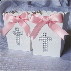 Girl's Baptism, Communion Rhinestone Cross Popcorn Favor Box, Candy Holder, Dessert Buffet Box
