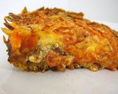 Dorrito taco bake-- worth trying. uses ground beef.  1 can refrigerated crescent rolls  1 lb lean ground beef  1 package taco seasoning  1 (8oz) can tomato sauce (I used Rotel tomato sauce)  8 oz sour cream  1 1/2 cups shredded cheddar cheese  3/4 bag Doritos, crushed