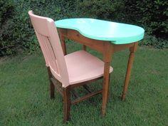 Vintage Wood Kidney Shaped Vanity Table Dressing Table