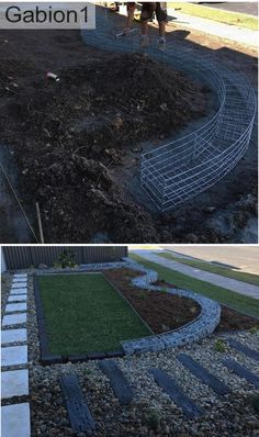 before and after shots of curved gabion walling http://www.gabion1.com.au