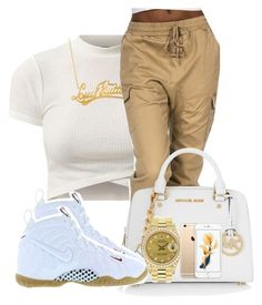 """""""Gold ,white"""" by chiamaka-ikaraoha ❤ liked on Polyvore featuring Louis Vuitton, MICHAEL Michael Kors, NIKE, Rolex, women's clothing, women's fashion, women, female, woman and misses"""