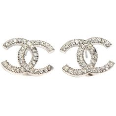 Pre-owned Chanel Earrings Cc Logo Crystal Silver Hardware Shw  Classic ($666) ❤ liked on Polyvore featuring jewelry, earrings, accessories, crystal silver, crystal earrings, pre owned jewelry, black and white earrings, crystal costume jewelry and crystal jewelry