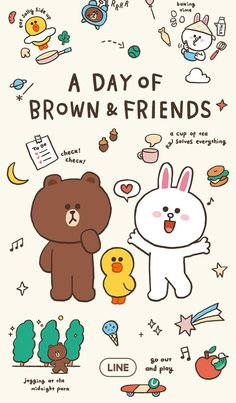 Line Friends 배경화면 Lines Wallpaper, Brown Wallpaper, Bear Wallpaper, Kawaii Wallpaper, Wallpaper Iphone Cute, Line Cony, Stickers Kawaii, Cony Brown, Brown Bear
