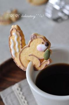 I don't think anything can beat the cuteness factor here! Squirrel Mug Topper Cookies