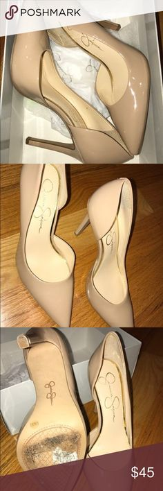 Nude Patent Jessica Simpson Heels **Worn only once** Nude Patent Jessica Simpson Pointy Toe Heel.  Very Chic and Classy Jessica Simpson Shoes Heels