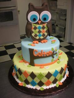 Owl boy cake @ Amy R ;) too cute...cute for baby birthday