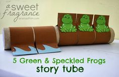 """Letter F // Frog unit // Green and Speckled Frogs"""" Story Tube. A fun, interactive activity to play with your young ones! Interactive Activities, Classroom Activities, Book Activities, Preschool Activities, Classroom Charts, Toddler Classroom, Preschool Music, Finger Plays, Letter F"""