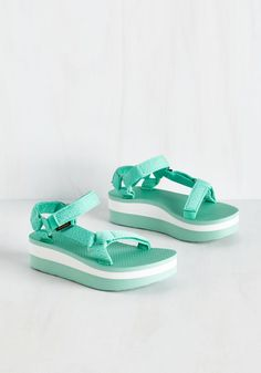 I Wanna Walk With You Sandal in Marled Mint by Teva - Green, White, Stripes, Casual, Beach/Resort, Colorblocking, Minimal, Better, Platform, Variation