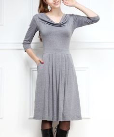 Gray Pleated Drape Neck Dress | zulily  The possibilities  with gray!