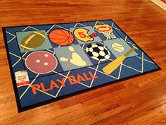 Sports Kids Area Rug -4'x6' ACTUAL RUG SIZE IS 3'.11''X5'.5'' Nice Size - Printed Area Rug with Non Skid Backing 47 INCH X 65 INCH Kids Area Rugs, Kids Sports, 5 S, Kids Rooms, Rug Size, Free Shipping, Printed, Nice, Home Decor