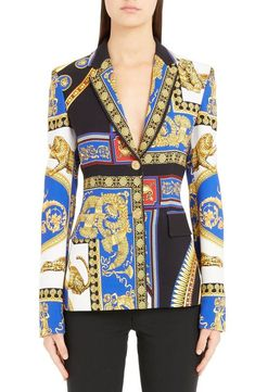 Shop a great selection of Versace Casa Print Blazer. Find new offer and Similar products for Versace Casa Print Blazer. Blazers For Women, Coats For Women, Clothes For Women, Versace, Black Velvet Blazer, Unique Fashion, Womens Fashion, Denim Ideas, Printed Blazer