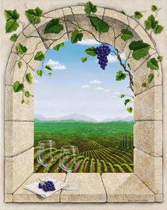 Wine Country Afternoon Mural - Dina Farris Appel| Murals Your Way