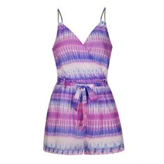 Ally Fashion Tie dye stripe wrap playsuit ($29) ❤ liked on Polyvore featuring jumpsuits, rompers, print, white romper, patterned romper, print romper, white rompers and wrap romper