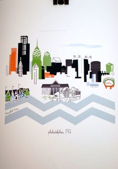This is such a cool image of the city where I went to school. Philadelphia by albiedesigns on Etsy, $30.00