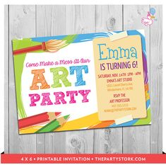New Art Party Invites at The Party Stork. Quick and Easy Printable Invite. #artpartyinvites #paintparty