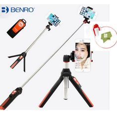 Vitopal BENRO Handheld Tripod 3 in 1 Self-portrait Monopod Phone Selfie Stick Bluetooth Remote Shutter for Gopro iPhone Sumsang //Price: $21.13//     #shopping