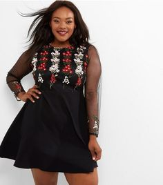 Curves Black Floral Embroidered Mesh Sleeve Skater Dress | New Look