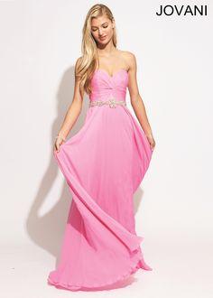 Jovani 159764 - Pink Strapless Beaded Chiffon Prom Dresses Online #thepromdresses