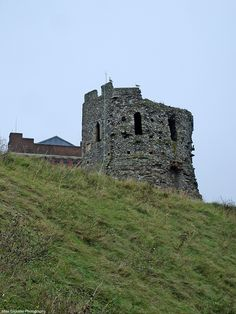 The Roman lighthouse or Pharos atop Dover cliffs at the castle.