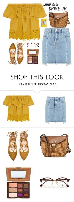 """""""Untitled #1420"""" by timeak ❤ liked on Polyvore featuring Madewell, MICHAEL Michael Kors, Too Faced Cosmetics, Ray-Ban, DateNight, drivein and summerdate"""