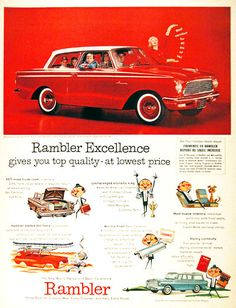 1961 Rambler American 2-Door Sedan original vintage ad. Rambler excellence gives you top quality at lowest price. America's lowest priced car.