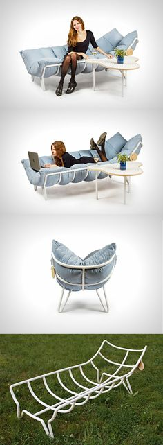 The 'Inchworm Shezlong' (Chaise-Lounge) is a chair which is just a metal structure on which you pile your duvet, turning it into a hipster-awesome bed-chair that you can sit/lay on or sprawl across... READ MORE at Yanko Design !