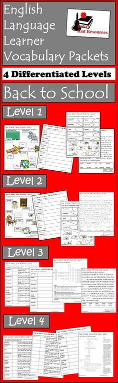 Free school supplies and school environment esl vocabulary packets with four different levels from Raki's Rad Resources.