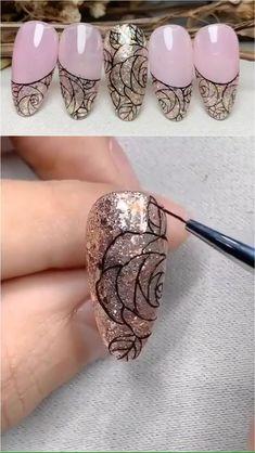 Nail Art Rose, Rose Nail Design, Cat Nail Art, Nail Art Diy, Nail Art Designs Videos, Nail Art Videos, Simple Nail Art Designs, Wow Nails, Pretty Nails