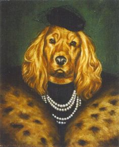 Tell me this doesn't look like the --> The Goonies Mama Fratelli. Costume Chien, Cat Bar, Animal Dress Up, Monkey Art, Dog Artwork, Dog Paintings, Animal Fashion, Dog Show, Dog Portraits