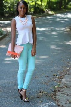 Pastel Colors for Spring 2013! Subtle, yet sweet :)  Loving the matching necklace and handbag!