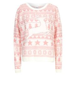 646936e02f Pink and White Prancing Reindeer Fairisle Christmas Jumper - for Xmas  Feather Feature