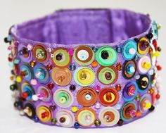 Mexican Embroidered Huichol Beaded Cuff Bracelet (purple) by mymercado @Etsy