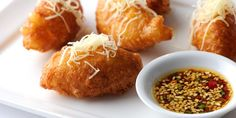 Beignets make great canapes. This cheddar beignets recipe includes a sesame dressing