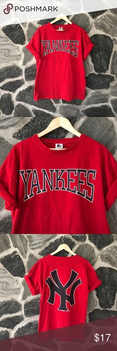 vtg   starter   red ny yankees graphic t-shirt vintage   red starter brand ny yankees large graphic logo t-shirt  date stamp: 1998 size: large - runs true to size condition: very good — very minor cracking + fading in spots but very good for a true vintage tee like one no stains holes or any other defects. still looks awesome. thick, heavier cotton tee, oversized but comfortable.  — #vintage #vtg #red #starter #ny #yankees #baseball #oversize #logo #mlb  #christmas #shopping #gift #present…
