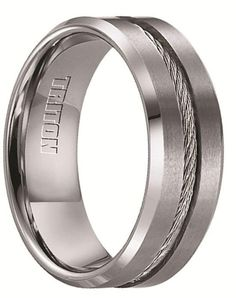 Larson Jewelers CURTIS Tungsten Wedding Band with Steel Cable Inlay by Triton Rings - 8 mm Wedding Ring photo