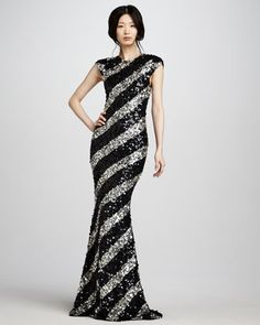Sequin-Stripe Gown by Alice + Olivia
