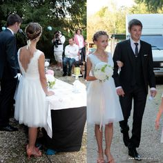 Emma-Spring Summer Bride-Custom V neck A-line Lace Tulle Short Wedding Dress Gown. $550.00, via Etsy.