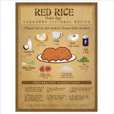 Red Rice Artful Recipe Board Illustration Chamorro Red Rice Recipe, Red Rice Recipe Guam, Raw Rice Recipe, Red Rice Recipe Mexican, Rice Dumplings Recipe, Red Beans And Rice Recipe Easy, Rice Recipes Vegan, Chamorro Recipes, Chamorro Food